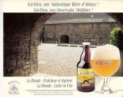Brasserie-Bière-La Blonde: Fraicheur Et Légèreté-Abbaye Du Val Dieu-Publicité De Table-recto-verso-15x12cm - Autres Collections