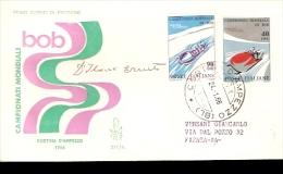 CAMPIONATI MONDIALI DI BOB CORTINA 1966 CON AUTOGRAFO DELL´ALLENATORE DEL TEAM ITALIANO CAMPIONE DEL MONDO D´ILARIO - Inverno