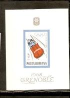 POSTA ROMANA BOBSLED GREOBLE 1968 OLIMPICH GAME - Inverno