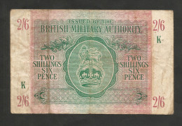 United Kingdom - BRITISH MILITARY AUTHORITY - 2 SHILLINGS & 6 PENCE (1943) - WWII - Military Issues
