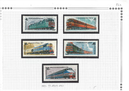 06 Russia CCCP USSR 1982 MNH Mi. 5175-5179 Train Railway Complete Set - Ongebruikt