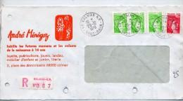 Lettre Recommandee Colmar Sur Sabine Entete Habit Menegoz - Marcophilie (Lettres)