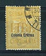 ERITREA - ANNO 1903 - PACCHI POSTALI -   1 VALORE USATO - SASS. 12 - CANCELLED - Eritrea