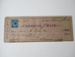 Bank Check Chemical National Bank 1882. New York. Mit Fiskalmarke. 87 Dollars - USA