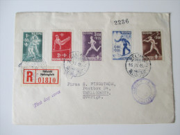 Finnland Registered Letter 1945 Sport FDC Nr. 286-290. Satzbrief Nach Schweden. Echt Gelaufen. 4 Stempel! - Cartas