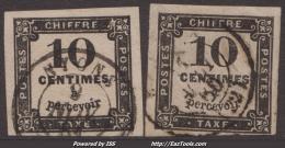 Les 2 Types Du 10c Taxe Carré Typographié TB (Dallay N° IIA Et IIB, Cote 70€) - 1859-1955 Usati