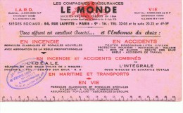 VIEUX PAPIERS-BUVARD-PUB-LES COMPAGNIES D´ASSURANCES LE MONDE-22 Cm X 12 Cm- - Banque & Assurance