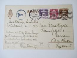 Ganzsache Dänemark 1940 Mit Zusatzfrankatur / Dreifarben Frankatur. - Interi Postali