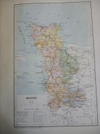 Carte Géographique De La Manche , Gravure De Perrin 1877 - Carte Geographique