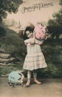 """ENFANTS - LITTLE GIRL - MAEDCHEN - Jolie Carte Fantaisie Portrait Fillette Avec Chapeau Et Oeufs De """"Joyeuses Pâques"""" - Portraits"""