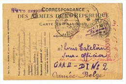 CARTE DE  MILITAIRE BELGE  15 09 1916  AVEC GRIFFES - 1914-18