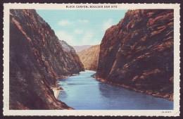 BLACK CANYON ON THE COLORADO RIVER, BOULDER DAM SITE. NEVADA (Unused Old Linen Postcard))