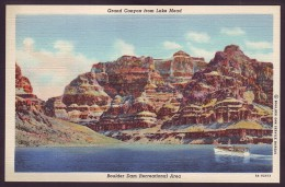GRAND CANYON FROM LAKE MEAD. BOULDER DAM RECREATIONAL AREA. NEVADA (Old Linen postcard)