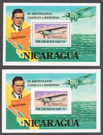 Nicaragua 1977 Mi# Bl.101A+B** CHARLES LINDBERGH'S TRANSATLANTIC FLIGHT FROM NYC TO PARIS, 50th ANNIV. - Nicaragua