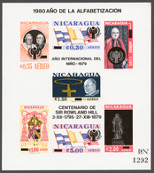 Nicaragua 1980 Mi# Bl.116** POPE JOHN XXXIII AND CARDINAL SPELLMANN, OVPD. YEAR OF CHILD, ROWLAND HILL - Nicaragua