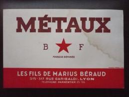Buvard METAUX B F. Les Fils De Marius BERAUD à Lyon.  FONDERIE USINE. Années 50. - Buvards, Protège-cahiers Illustrés