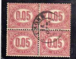 ITALIA REGNO ITALY KINGDOM 1875 SERVIZIO FRANCOBOLLO DI STATO SERVICE CENT. 5 (0,05) QUARTINA USATA BLOCK USED - 1861-78 Vittorio Emanuele II