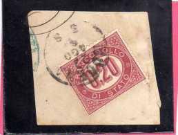 ITALIA REGNO ITALY KINGDOM 1875 SERVIZIO FRANCOBOLLO DI STATO SERVICE CENT. 20 (0,20) USATO USED - Servizi