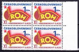 ** Tchécoslovaquie 1987 Mi 2907 (Yv 2719) Bloc De 4, (MNH) - Czechoslovakia
