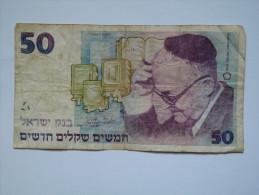 BILLET ISRAEL - P.55b (signe  7) - 1988 - 50 NEW SHEQALIM - SHMUEL YOSEF AGNON - LIVRES - JERUSALEM - Israel