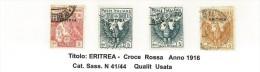 ERITREA - ANNO 1916 - CROCE ROSSA  - USATA - N° 41/44 - Eritrea