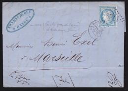France - Lettre N° 60 Obl. - 1873 - GC 1768 Le Havre Cad / Paris Gare De Lyon - 1849-1876: Classic Period