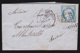 France - Lettre N° 60 Obl. - 1874 - PC 420 Belfort / Bureau De Passe / Albertville - 1849-1876: Classic Period
