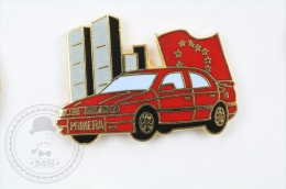 Nissan Primera Red Colour Car -  Pin Badge #PLS - Otros