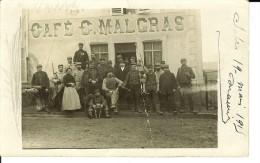 Carte Photo Groupe De Militaires Devant Le Café MALGRAS   6288 - Altri Comuni