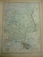 Carte Géographique , De La Russie Et Roumanie , Gravure De Perrin 1877 Avec 2 Pages Texte Indépendants - Landkarten