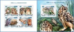 mld14308ab Maldives 2014 Birds Owls 2 s/s