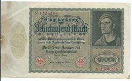 Billet Germany Reichsbanknote 10000 Mark 19 Janvier 1922 - [ 3] 1918-1933 : République De Weimar