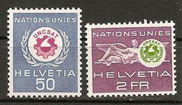 Switzerland. Scott # 7O38-39 MLH. Official Stamp UNCSAT Emblem. 1963 - Dienstzegels