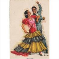 COSTP0604K-LFTM1423TESBA.Tarjeta Postal Costumbrista.BAILADO UN PASODOBLE,costumbres Españolas - Baile