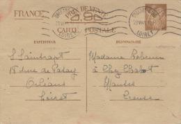 CARTE POSTALE - LETTRE Avec Correspondance D´ ORLEANS  En LOIRET  Pour   MAUTES En CREUSE -  1941 - Storia Postale