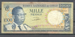 Congo Ex Belgian Kongo  1000 Fr 1964 VF - Billets
