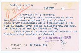 ITALY - FOSSANO - OFFICINE BONGIOVANNI- ADVERTISING POSTCARD 1934 - PERFIN STAMP - Italia