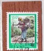 REP. DE COTE-D'IVOIRE  --  FEMME  A   LA  HOTTE  --  **  150  F.  ** --  POSTE 1994  -- TBE - Ivory Coast (1960-...)