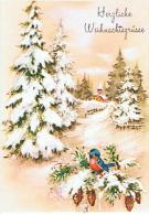 CARTE DE NOEL DOUBLE  *SAPIN EGLISE OISEAU - Noël