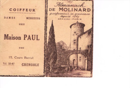 Calendrier Publicitaire 1937  Maison Paul 15 Cours Berriat Grenoble  Et De  Molinard Parfumeur De Provence  Petit Format - Calendriers
