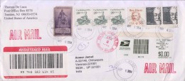 USA, Registered Cover, Stamps Of 15 Dollars Used On Cover, Sent To India - United States