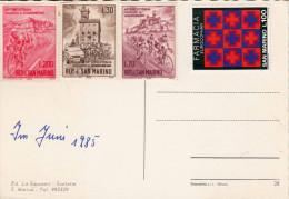 SAN MARINO 1985 - 4 Sondermarken Auf Ak Republica Di S.Marino - San Marino