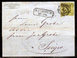 Baden Nr. 2 Auf Brief 1853 Von Mannheim Nach SPEYER (Ba4) - Bavaria