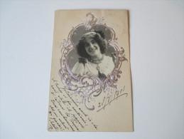 Relief / Fotokarte / Portrait 1901. Junge Frau Mit Silbernem Rahmen. - Fotografie