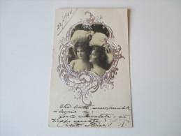 Relief / Fotokarte / Portrait 1901. Junge Frau Mit Silbernem Rahmen. Spiegel - Fotografie