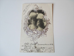 Relief / Fotokarte / Portrait 1901. Junge Frau Mit Silbernem Rahmen. Spiegel - Fotografia