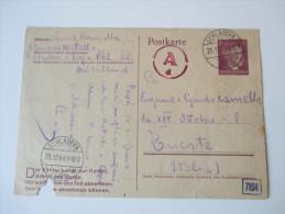 DR Ganzsache 23.12.1944 Weihnachtspost Nach Triest. Zensurstempel ?? A D. Schladern (Sieg) - Germany
