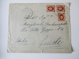 Ägypten Mehrfachfrankatur 1924 Gesendet Nach Triest. Hotel Pension Louise Abbazia - Covers & Documents