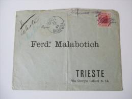 Österreich 1907 Brief Gruz Gravosa - Trieste. Marke Handschriftlich Entwertet / Federzug!! Interessanter Beleg! - 1850-1918 Imperium