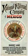 Mars 1903 - Carte Et Horaires Lignes CHEMINS DE FER CIE NATIONALE DU MEXIQUE - Format Carte 600 X 600mm - World